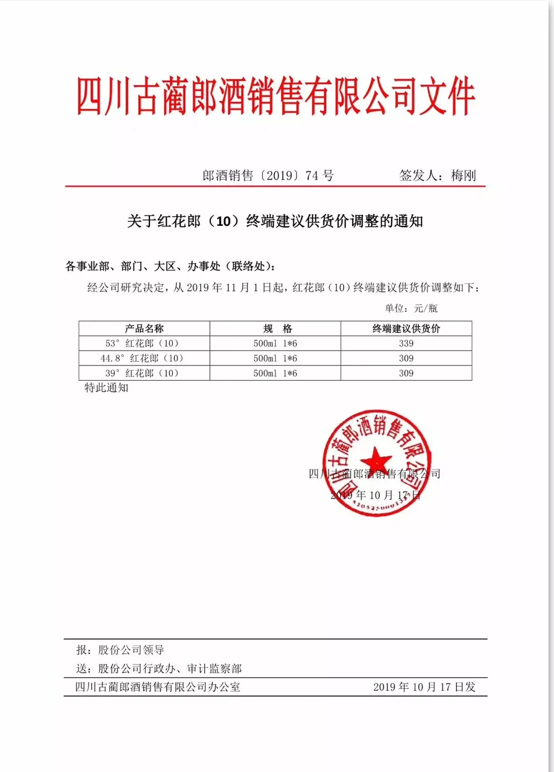 红花郎(10)终端供货价11月1日起上涨